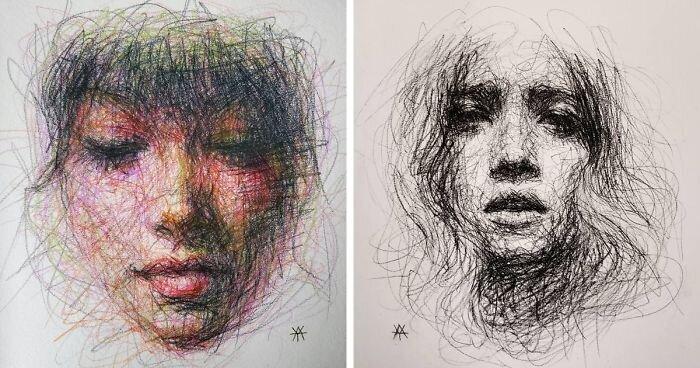 Художница создаёт женские портреты из каракуль