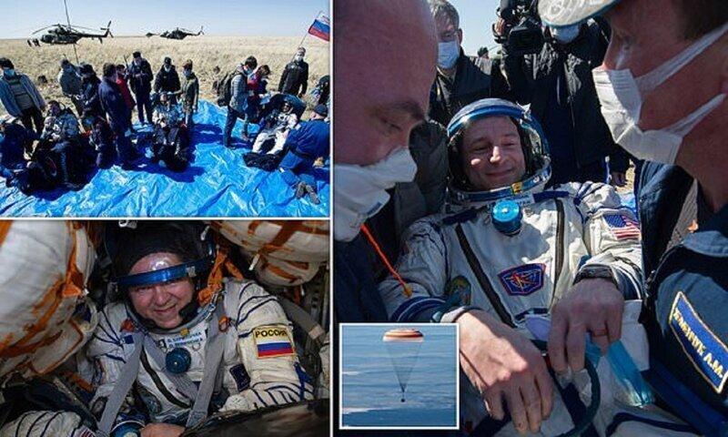 Вернувшихся на Землю космонавтов встретили врачи в масках