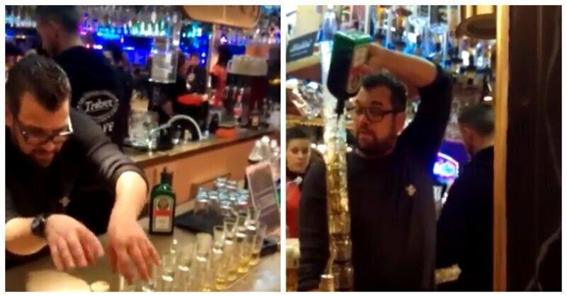 Эффектная подача коктейля от бармена