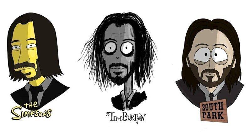Художник изобразил в разных мультипликационных стилях 17 знаменитостей