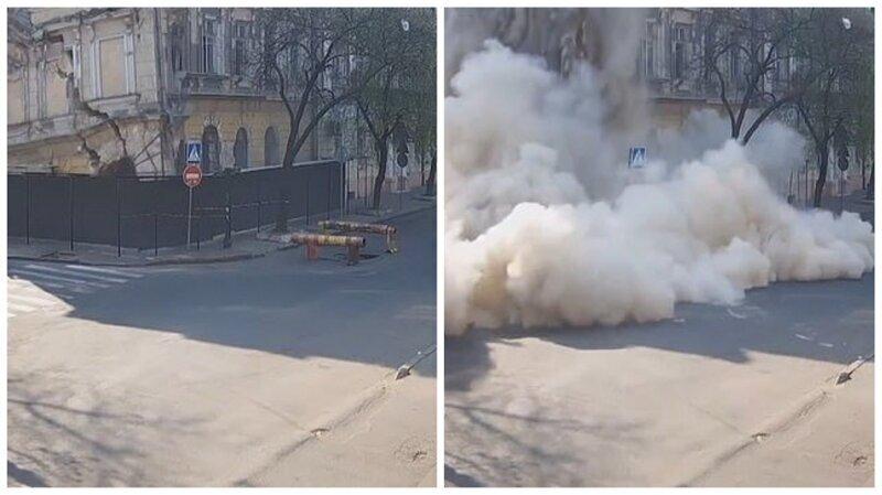 Видео: обрушение исторического здания в центре Одессы