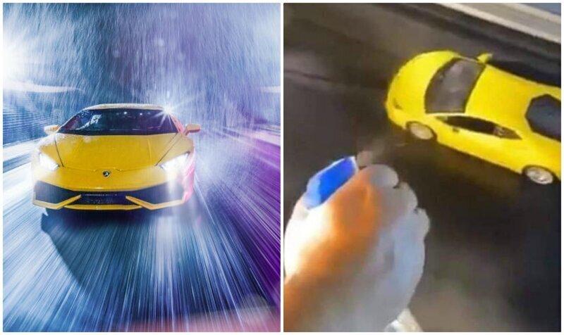 Не отличить от настоящей: фотограф устроил съемки Lamborghini у себя дома