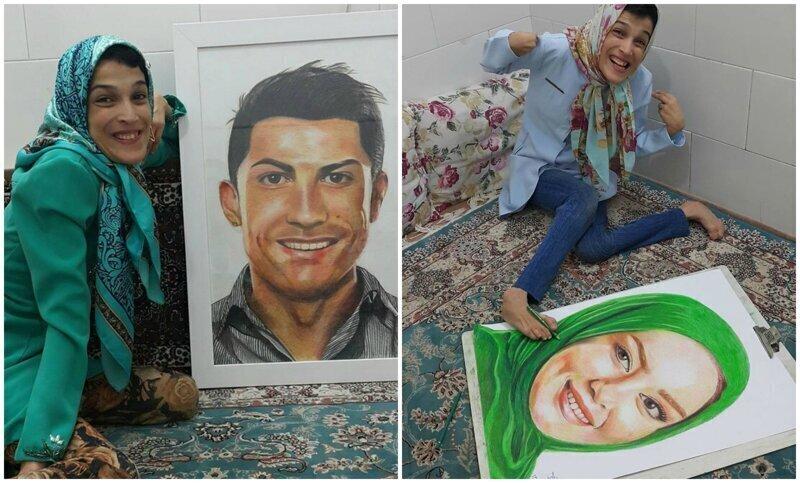 Иранская художница-инвалид рисует картины ногами