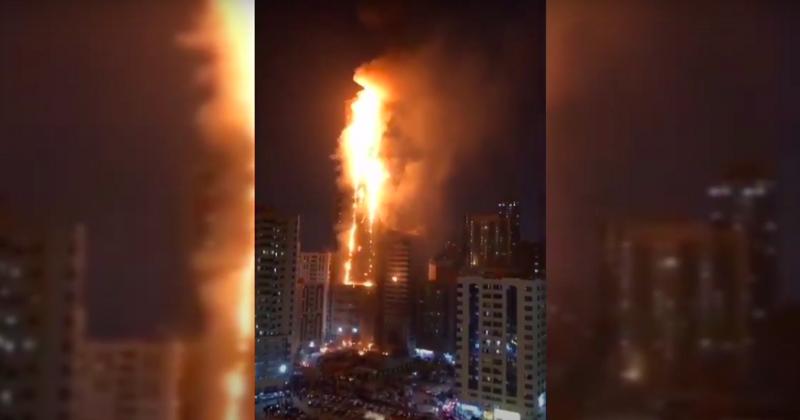 Ужасные кадры из ОАЭ: небоскрёб превратился в факел
