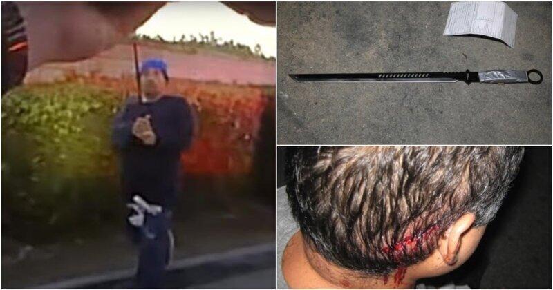 В США мужчина с мечом попытался напасть на полицейского