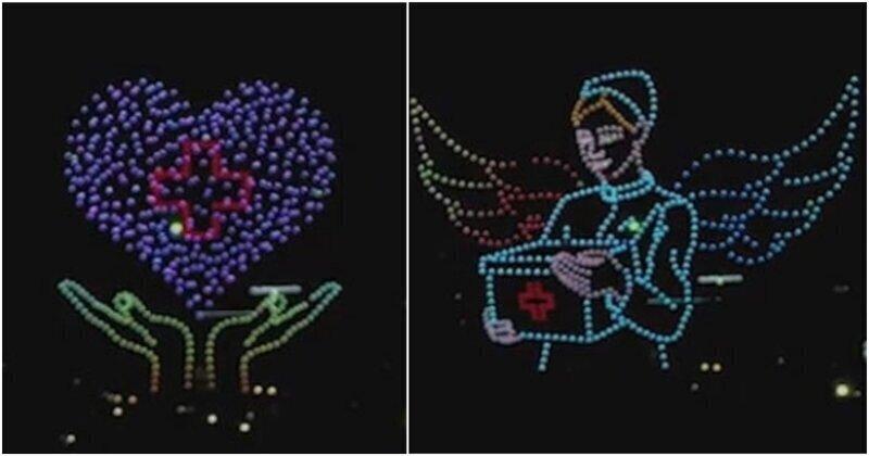 В Китае устроили воздушное шоу с дронами в честь дня медицинской сестры