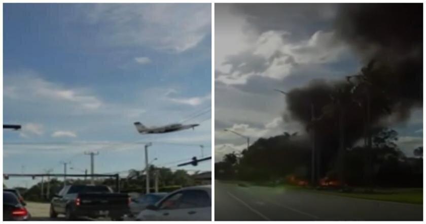 В США легкомоторный самолет зацепился за провода и рухнул у дороги