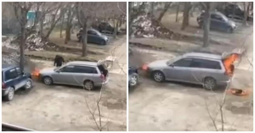 Россиянин отомстил бывшей возлюбленной, спалив средь бела дня ее машину