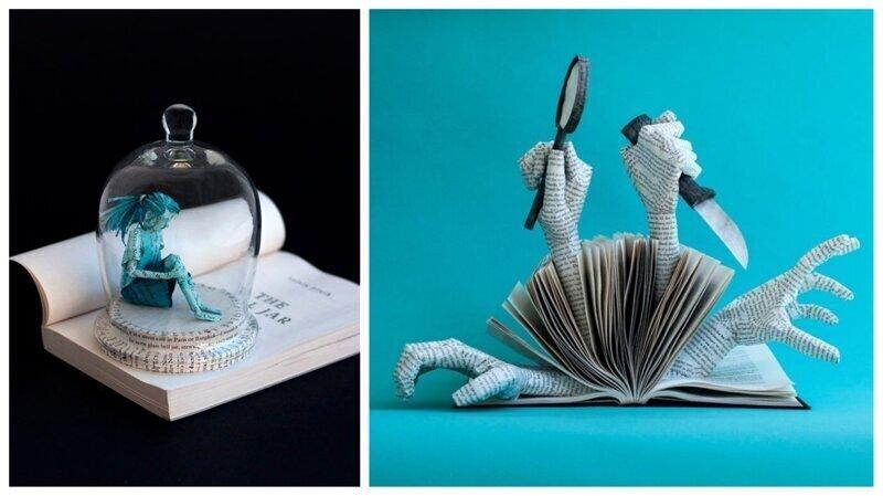 Художница создает скульптуры из книжных страниц