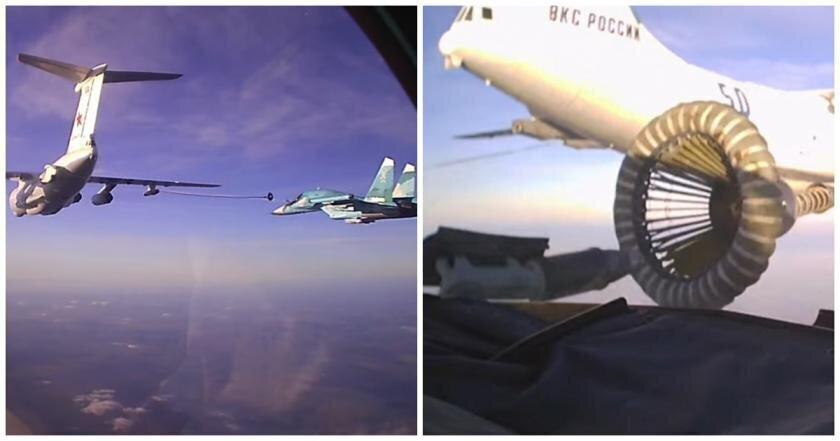 Воздушную дозаправку Су-34 показали из кабины пилота