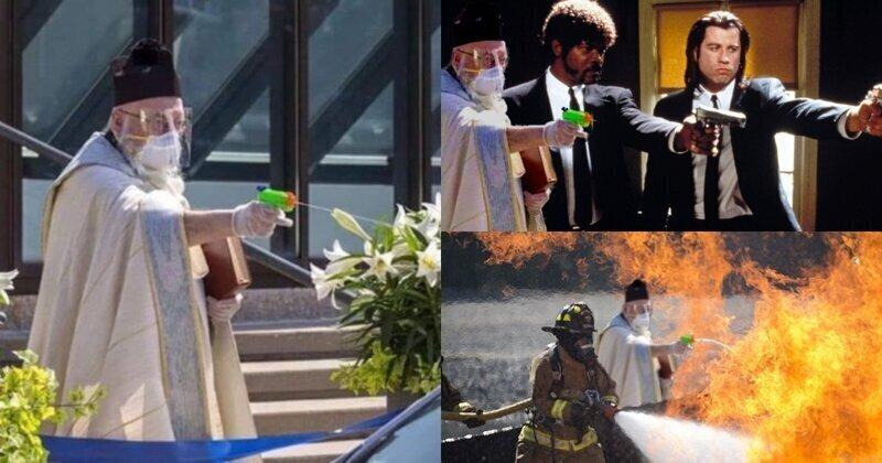 Американский священник для освящения прихожан использовал водяной пистолет и стал героем мемов