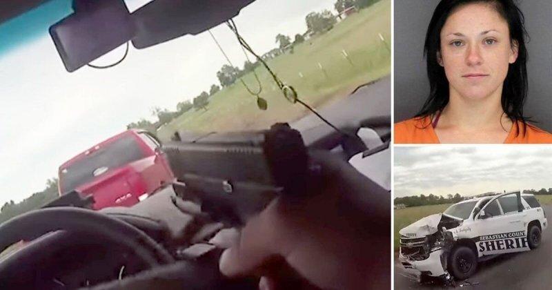 Минус четыре полицейских автомобиля! Погоня за 27-летней американкой, которая угнала пикап Dodge