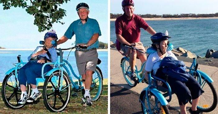 Муж построил специальный велосипед, чтобы кататься со своей женой, у которой болезнь Альцгеймера