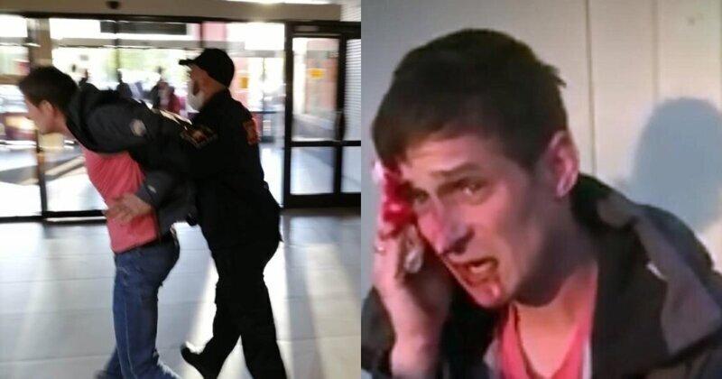 Охрана ТЦ избила мужчину в надетой не по правилам маске