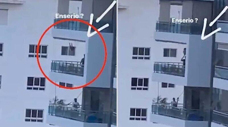 Мужчина покатал ребенка на качелях на высоте восьмого этажа
