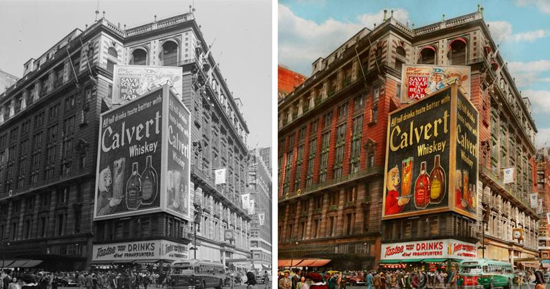 Фотограф оживил черно-белый Нью-Йорк