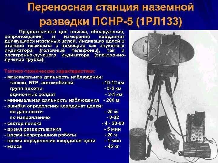 Оружии России, Переносная станция наземной разведки ПСНР-5 (1 РЛ 133)