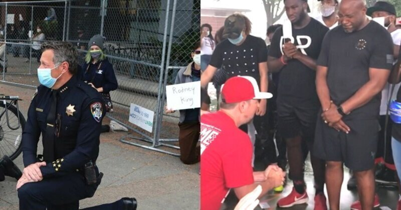 В США белые встали на колени перед чернокожими американцами, и россиянам этого не понять