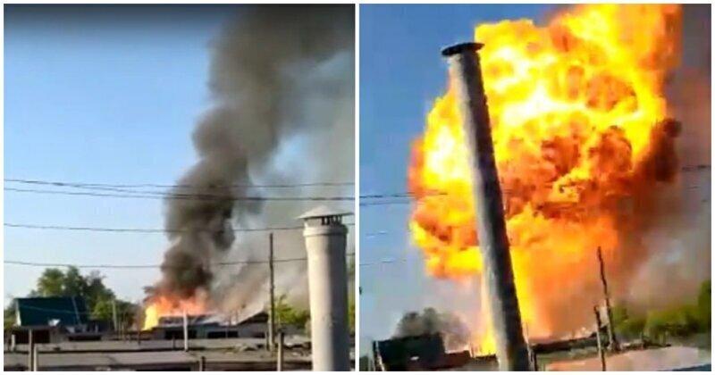 Момент взрыва в жилом доме при пожаре попал на видео
