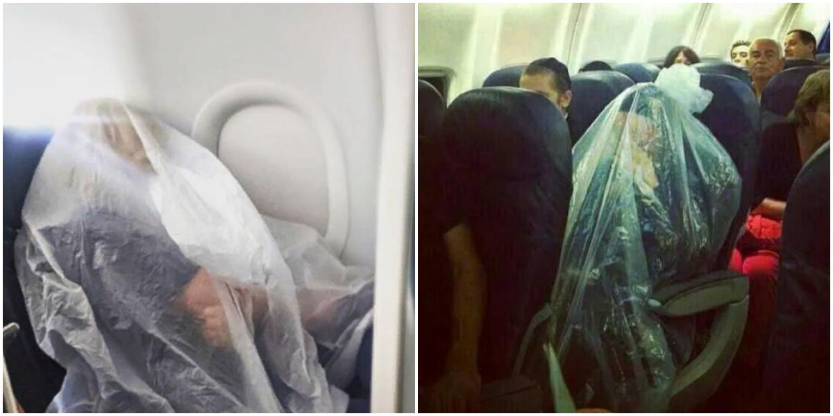 Пассажирка самолёта закуталась в полиэтилен, чтобы спастись от коронавируса