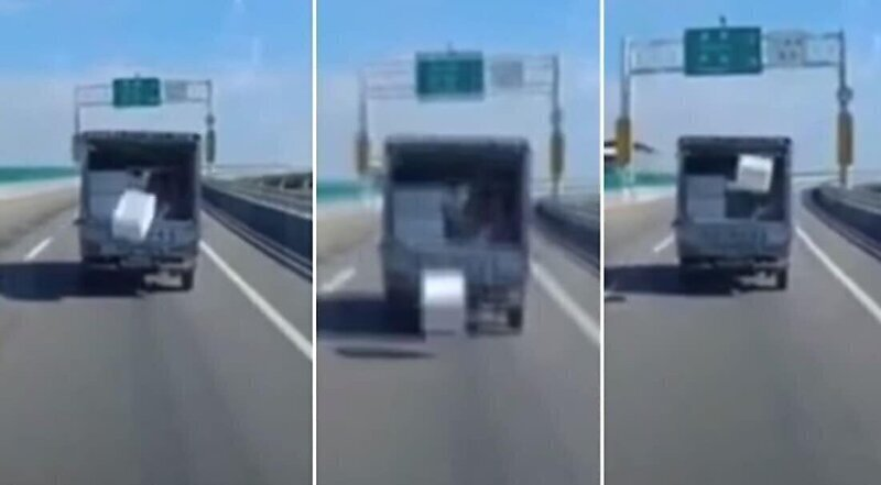 Магия вне Хогвартса: выпавшая коробка вернулась в кузов грузовика