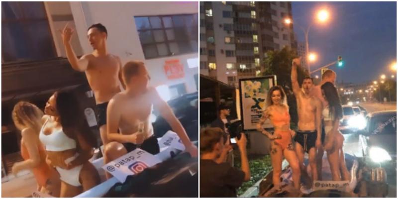 По центру Екатеринбурга проехались девушки в бассейне под громкую музыку и нарвались на штраф