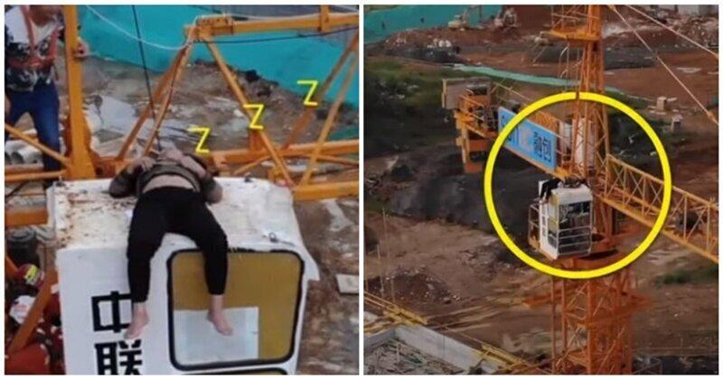 Пьяный мужчина решил прыгнуть с кабины крановщика, но заснул во время подготовки