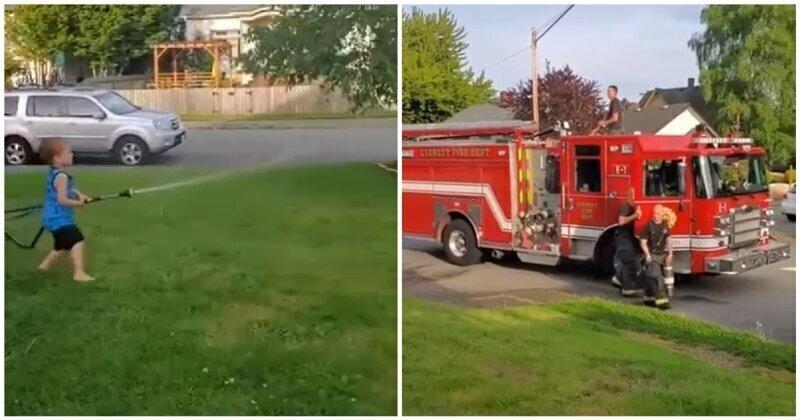 Пожарные устроили водную битву с детьми