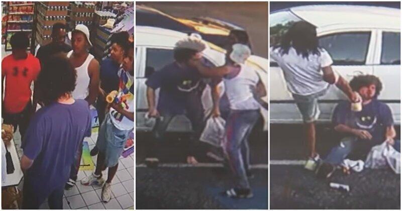 Отморозки напали на парня, сделавшего им замечание в магазине