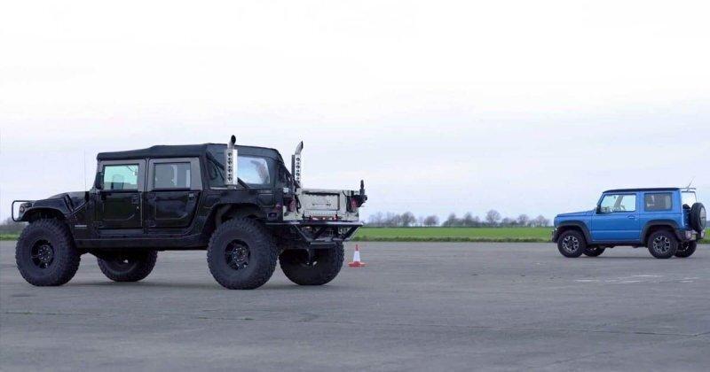 Давид и Голиаф: Hummer H1 сразился в дрэг-рейсинге с Suzuki Jimny