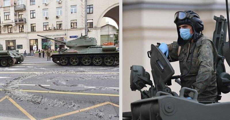 Дрифтующие танки пожевали асфальт на Тверской