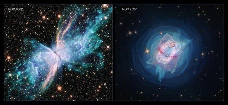 """Телескоп """"Хаббл"""" сделал детальные снимки двух необычных планетарных туманностей"""