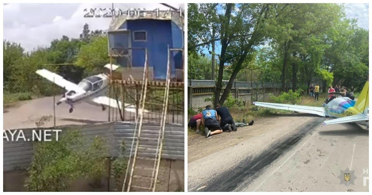 В Cети появилось видео крушения легкомоторного самолета в Одессе