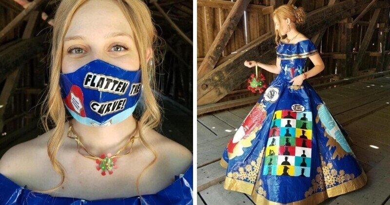 Девушка своими руками сделала выпускной наряд из скотча