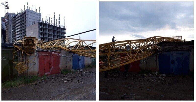 Эпичное падение башенного крана засняли на видео