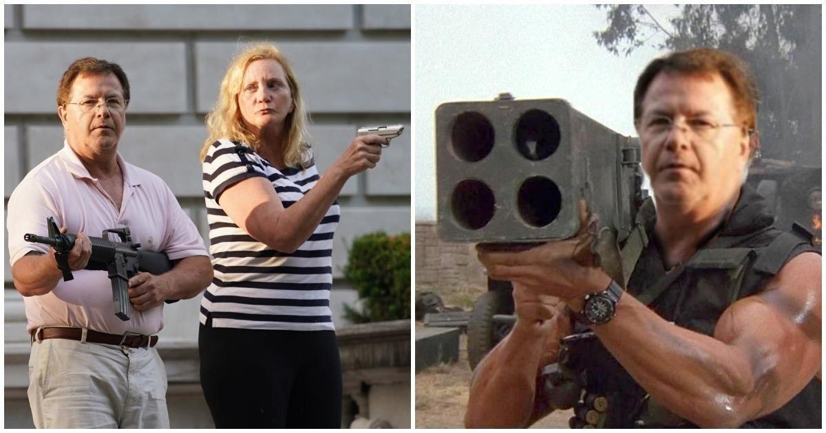 Американские супруги с оружием встретили демонстрантов у своего дома и стали героями интернета