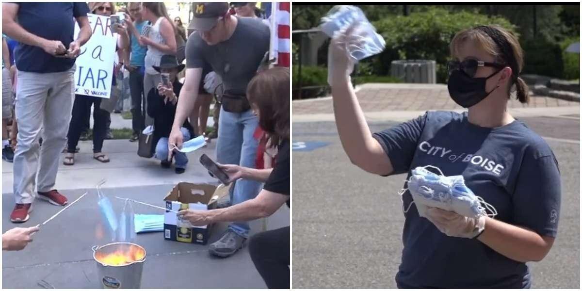 В США сжигают медицинские маски в знак протеста против угнетения