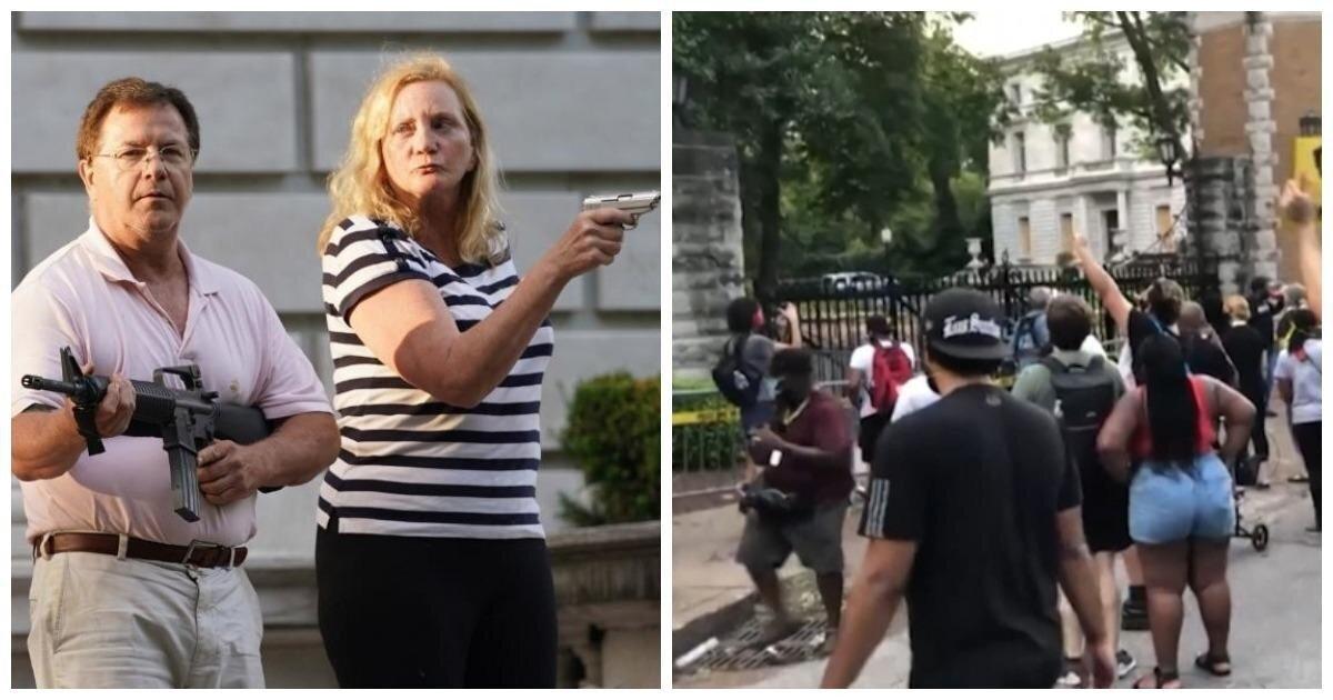 В США толпа устроила протесты против оборонявших свой дом вооруженных супругов