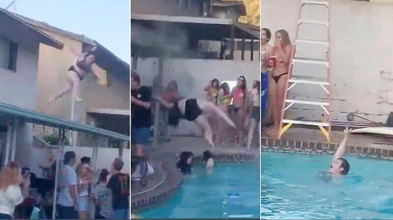 Девушка не рассчитала своих сил во время прыжка с крыши в бассейн