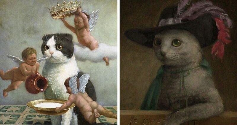 Царственные коты в работах талантливого японского художника