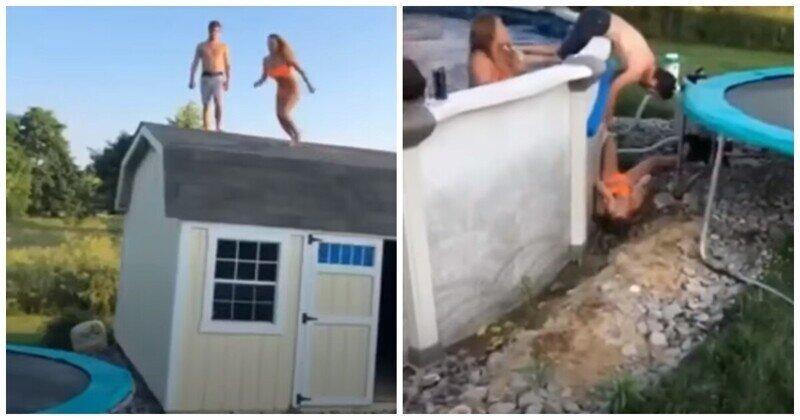 Девушка крайне неудачно прыгнула в бассейн через батут