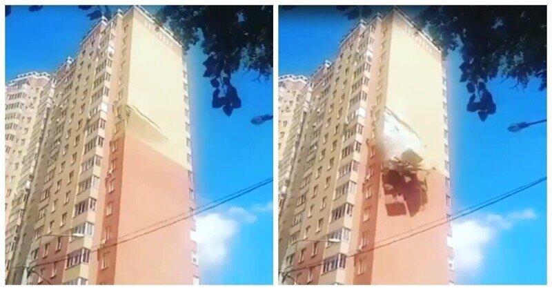 Обрушение части облицовки стены дома в подмосковной Балашихе