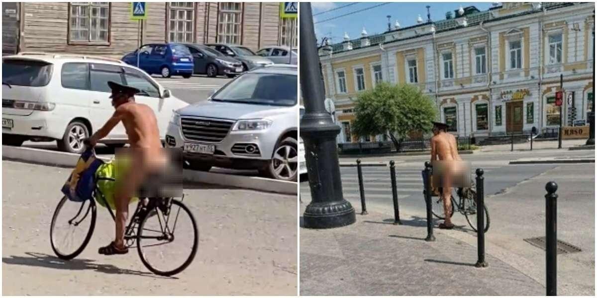 Печкин уже не тот: по Омску проехался голый велосипедист в полицейской фуражке