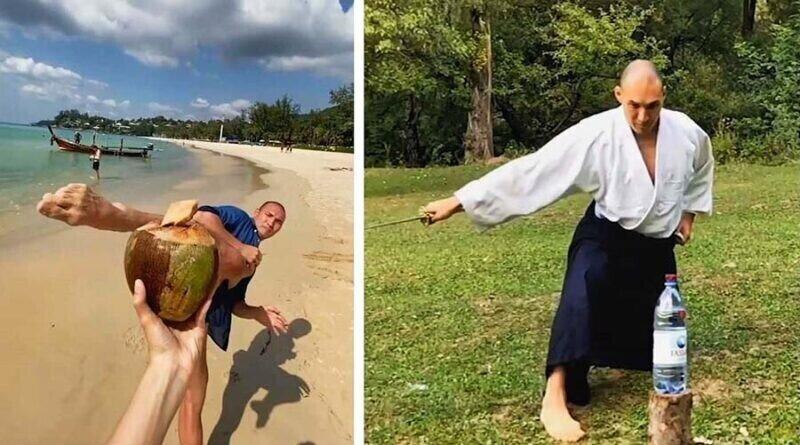 Мастер боевых искусств демонстрирует свои впечатляющие навыки