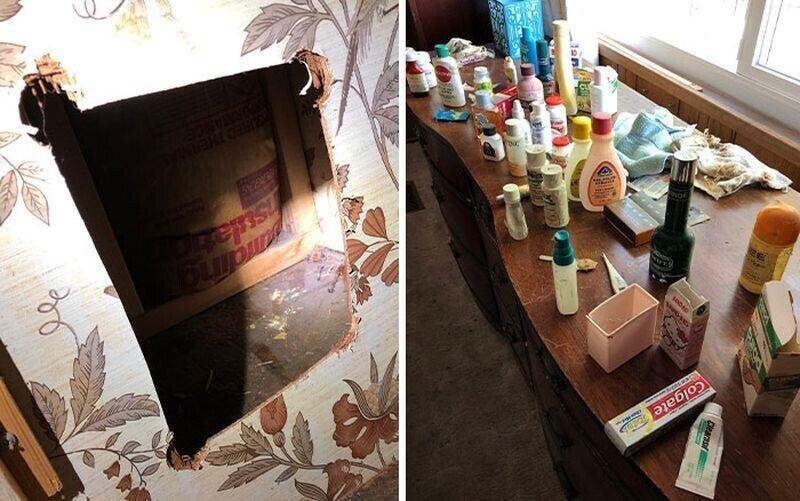 Семья нашла в стене дома залежи косметических средств, копившихся там 40 лет