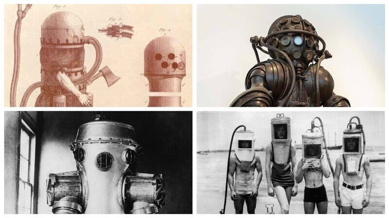 Как выглядели первые водолазные костюмы и устройства