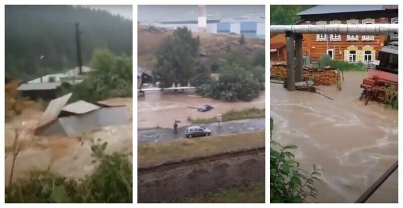 Затопленный город: реки на дорогах, плавающие дома, гаражи и автомобили