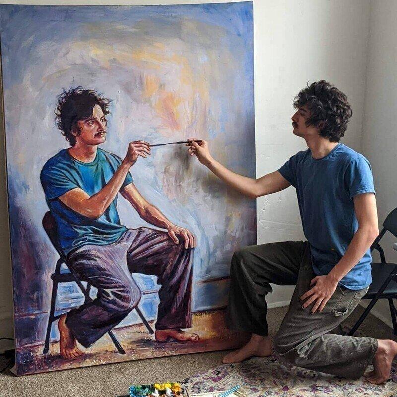 Художник нарисовал себя в серии невероятных рекурсивных автопортретов