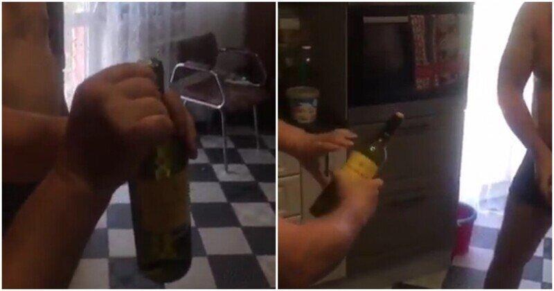 Оригинальный способ открыть бутылку вина без штопора