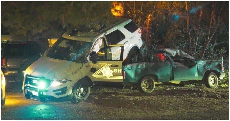 Эффектная авария во время полицейской погони